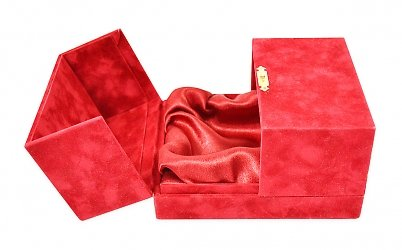 Коробка-шкатулка с атласным ложементом, бархатная — коробка из флока