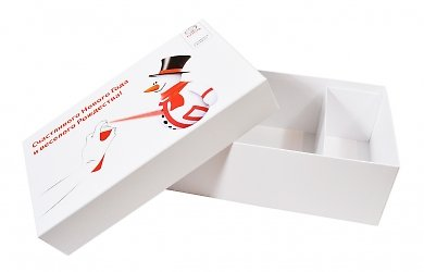 Кашированная коробка крышка-дно с перегородками для подарочного набора