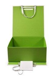 Кашированная коробка портфель с атласными ручками