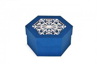 упаковка подарочная шестигранник со снежинкой