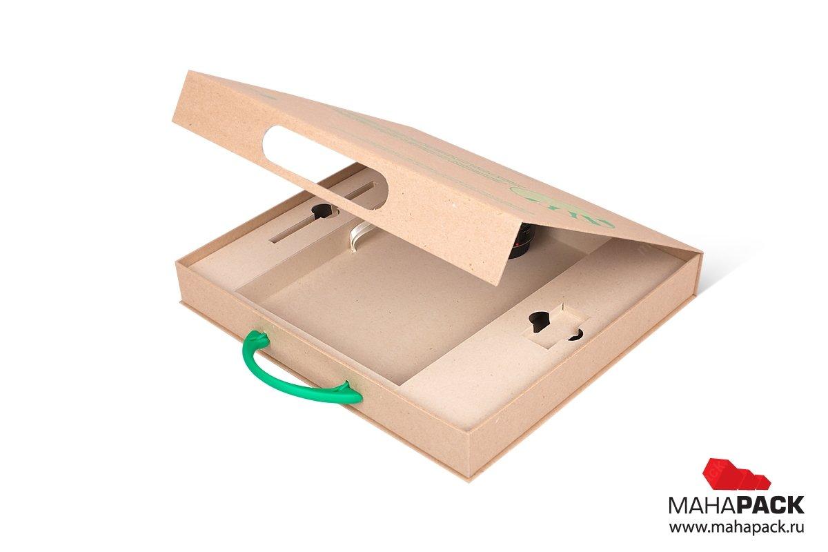коробка портфель с навесной ручкой