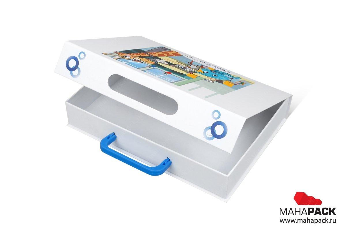 Коробка с ручкой из переплетного картона