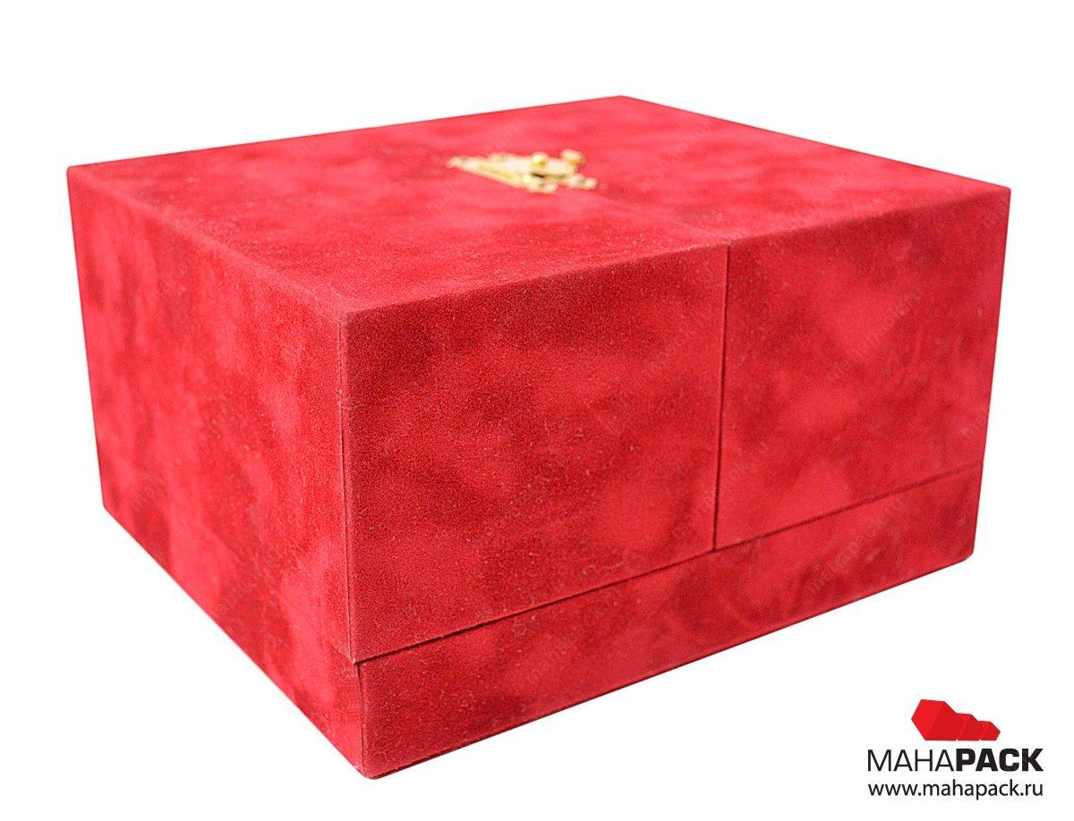 Коробка-шкатулка с атласным ложементом, бархатная