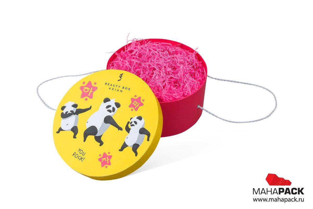 круглые коробки на заказ с полноцветной печатью