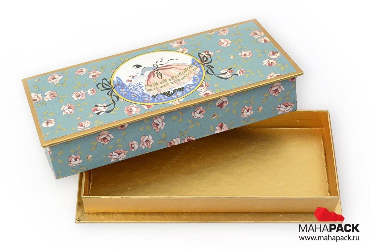 Кашированная коробка крышка-дно для шоколада