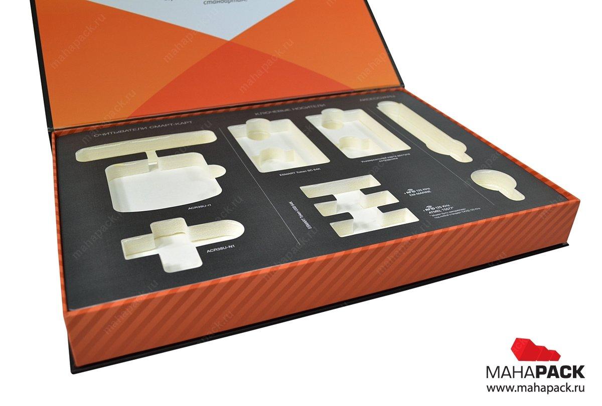Кашированная коробка, изготовление коробки с двухуровневым ложементом на заказ