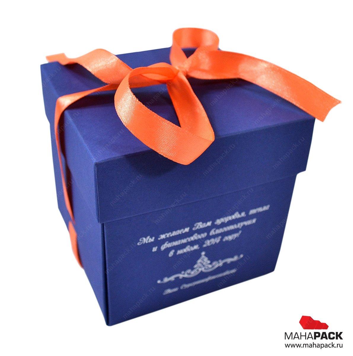 Подарочная коробка крышка-дно, универсальная самосборная конструкция