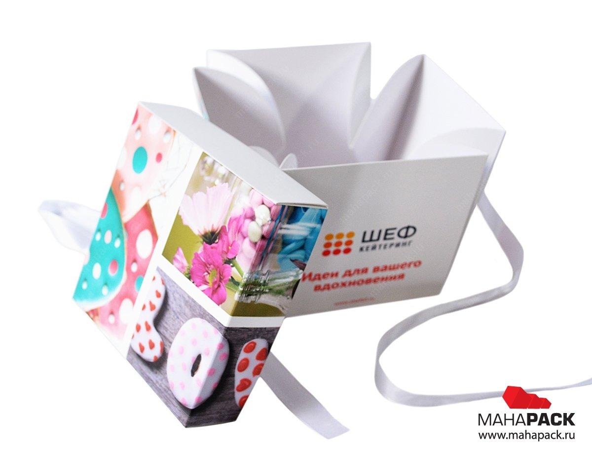 Производство коробок с атласной лентой на заказ