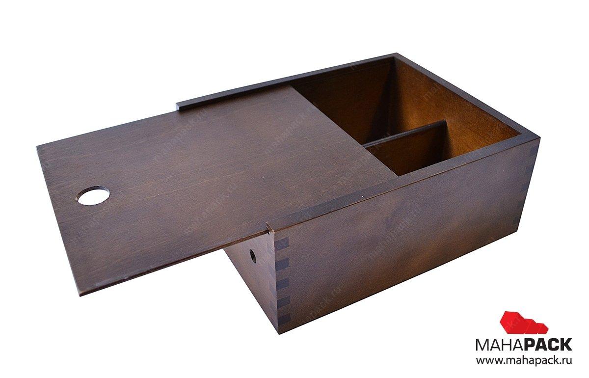 деревянная коробка-пенал с двумя отделениями