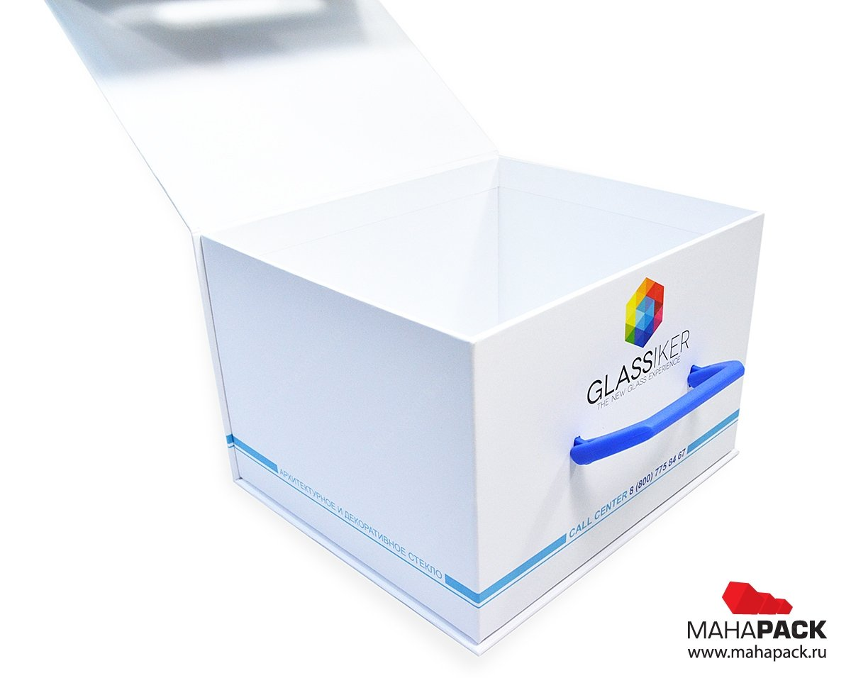 Кашированная коробка с клапаном на магните для образцов стёкол