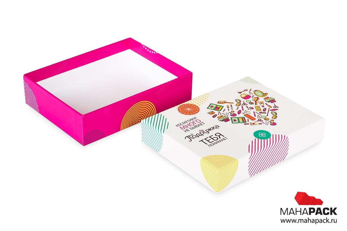 Кашированная коробка крышка-дно для косметики