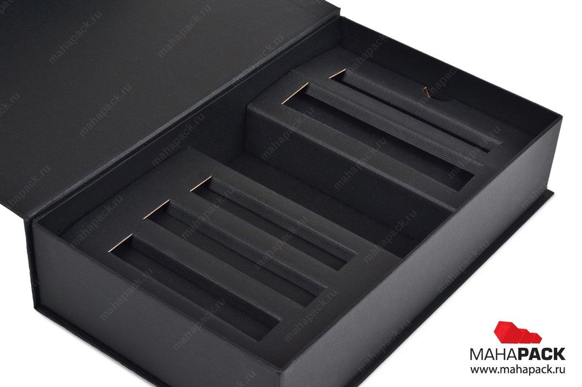 Кашированная коробка с магнитным клапаном для набора косметики