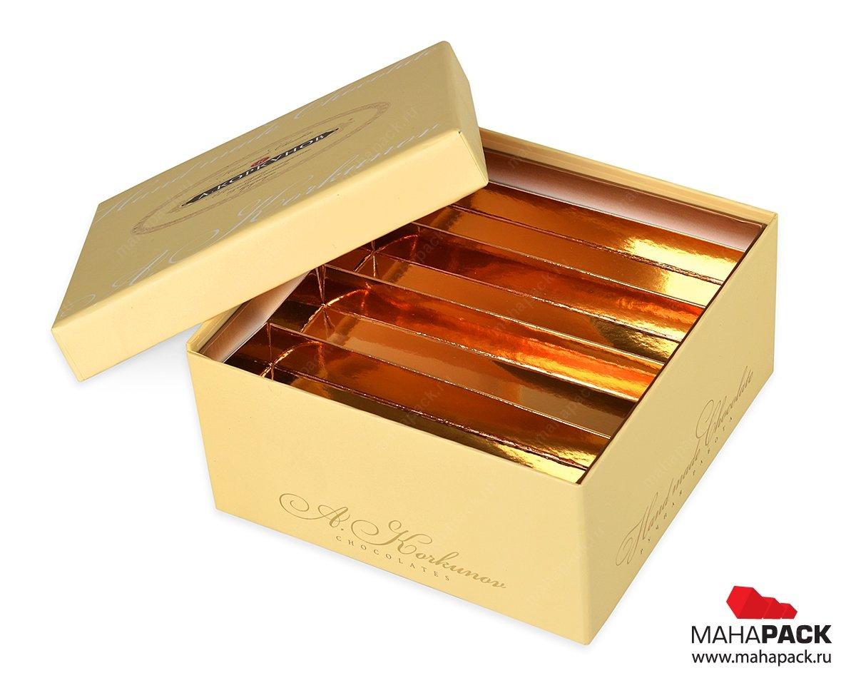 производство подарочной упаковки для конфет с тиснением