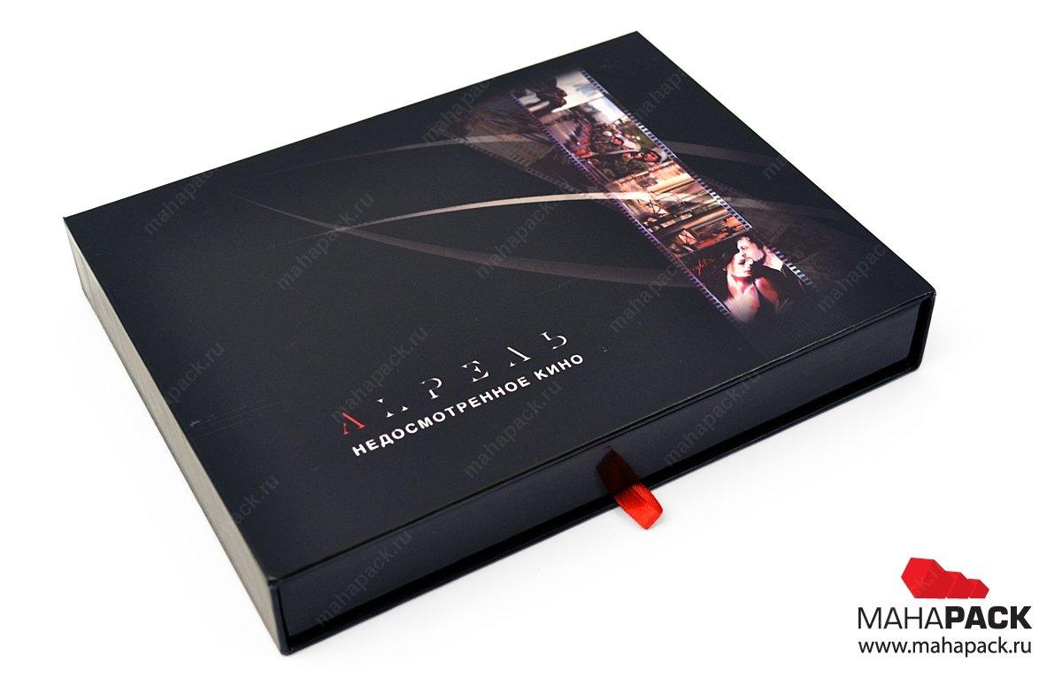 Кашированная коробка с ложементом для диска, флешки и открыток