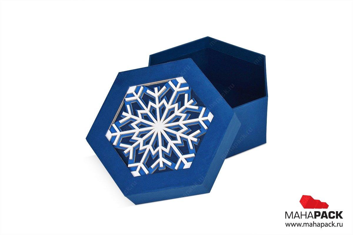 подарочные упаковки шестигранники со снежинкой