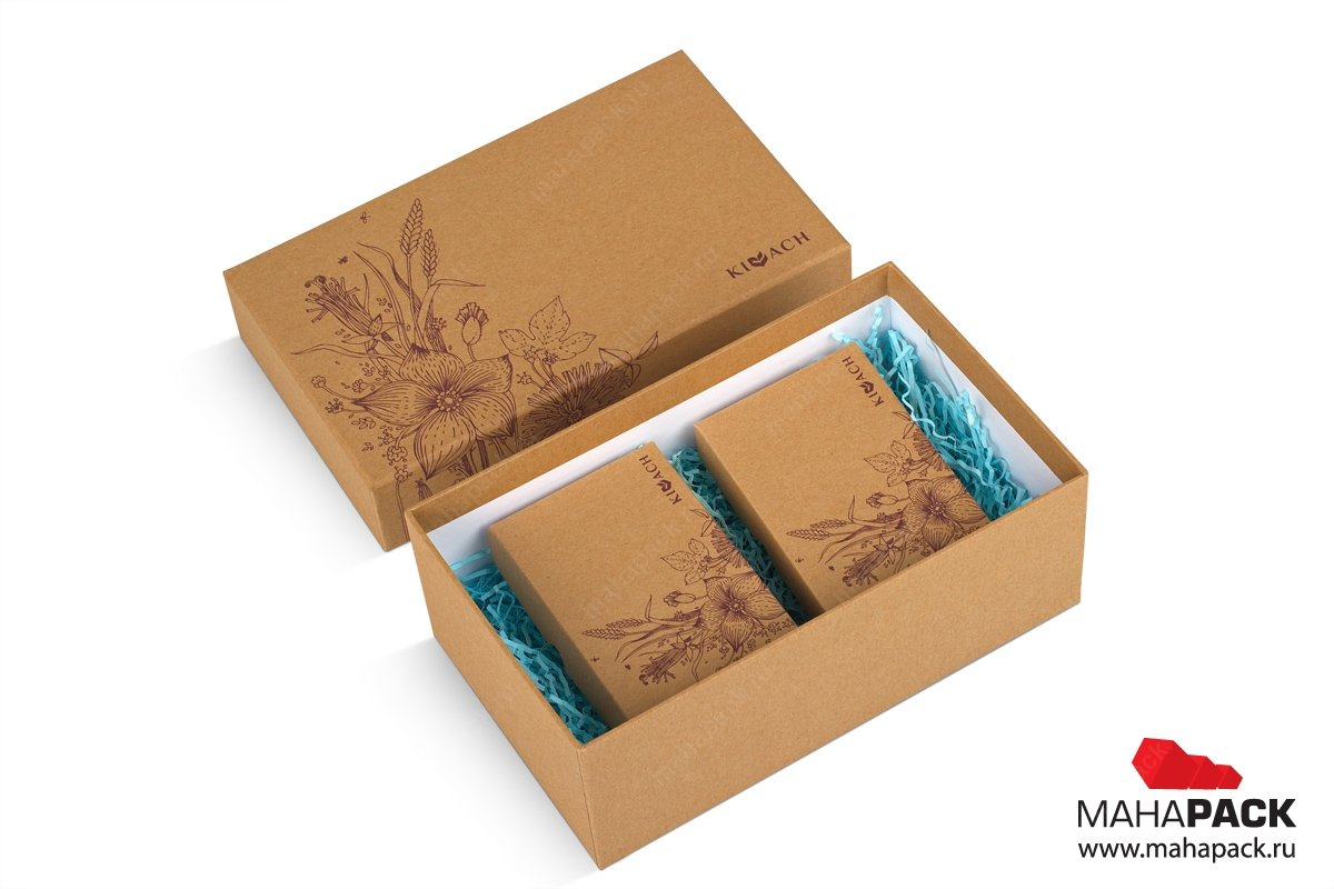 печать коробок крышка-дно из крафт картона