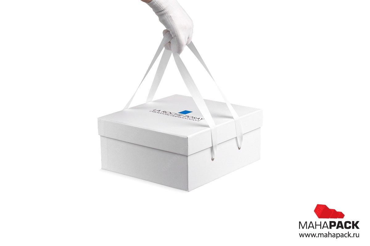 коробка крышка-дно с ручками лентами для косметики