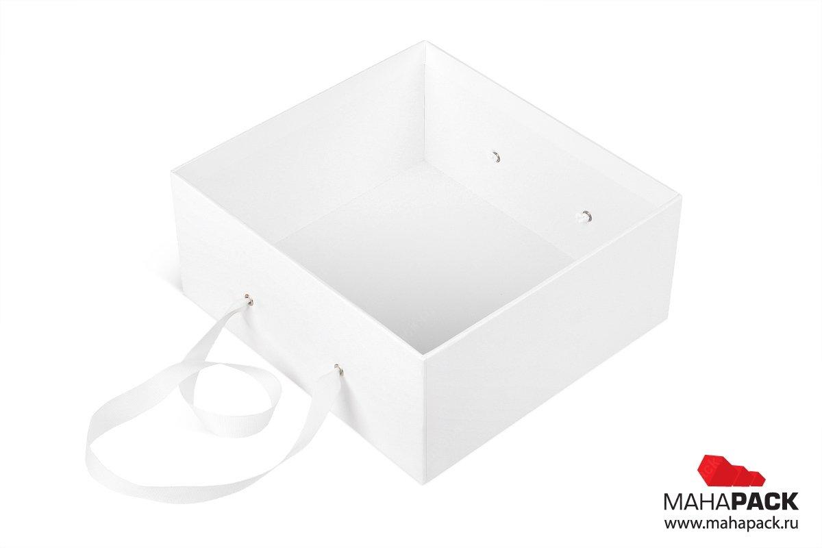 коробочка подарочная с ручкой лентой для косметики
