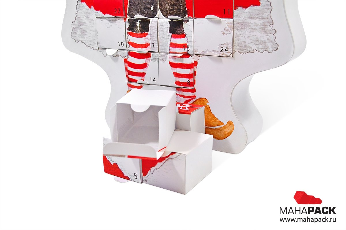 подарочная коробка для конфет - упаковка-пазл дед мороз