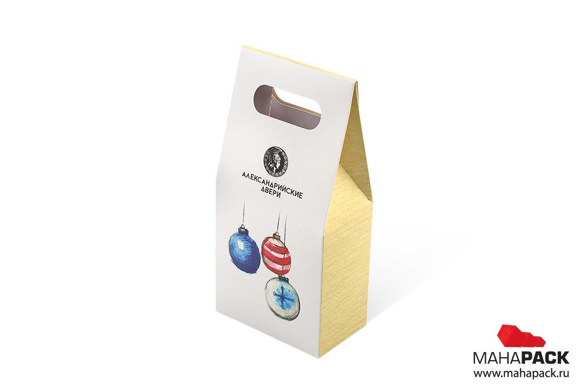 производство подарочных коробок с логотипом в виде пакета