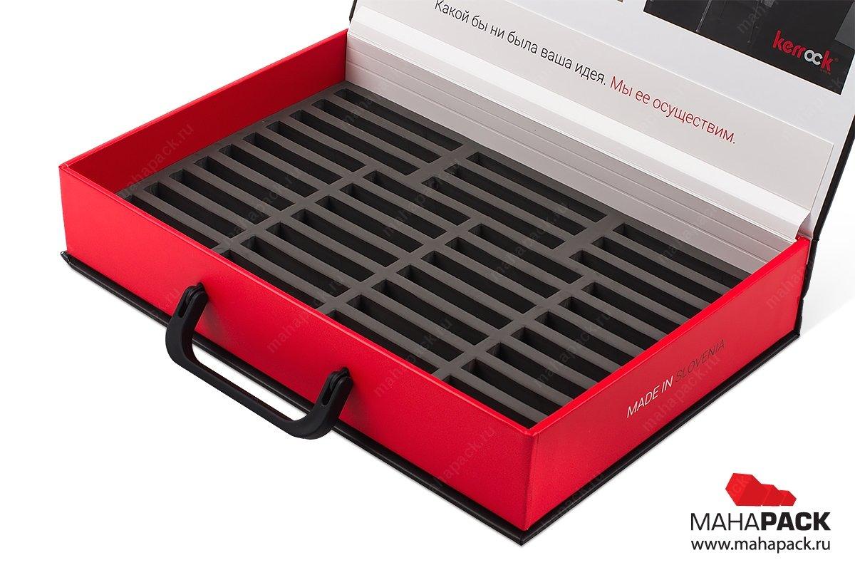 кашированные портфели и чемоданы для образцов с ручками