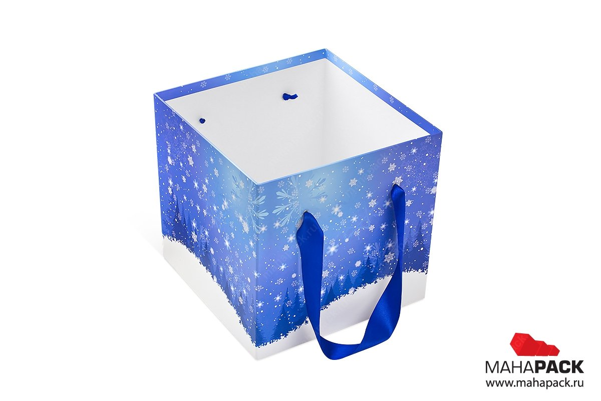 кашированная коробка с ручкой для подарков